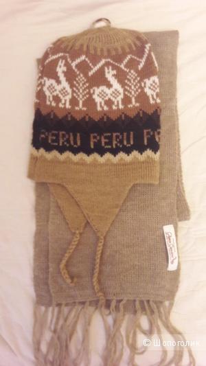 Комплект из шерсти альпаки: шарф и шапка