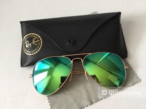 Оригинальные классические солнцезащитные очки авиаторы Ray-Ban с зеркальным покрытием в металлической оправе