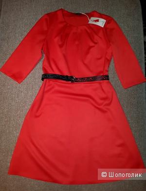 Красное женственное платье размер 46