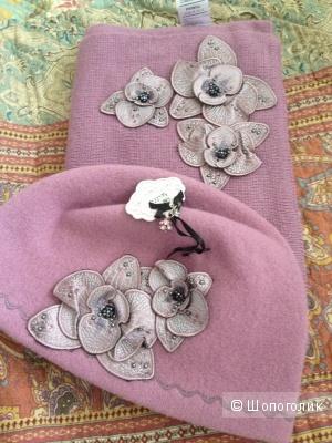 Новый комплект шапка+шарф ф.Orchidea 100% шерсть
