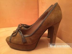 Туфли с открытым носиком L'autre Chose 36 размер цвет верблюжий новые
