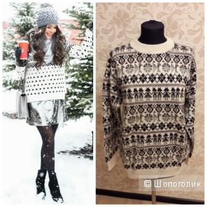 Шерстяной новый свитер со скандинавским орнаментом