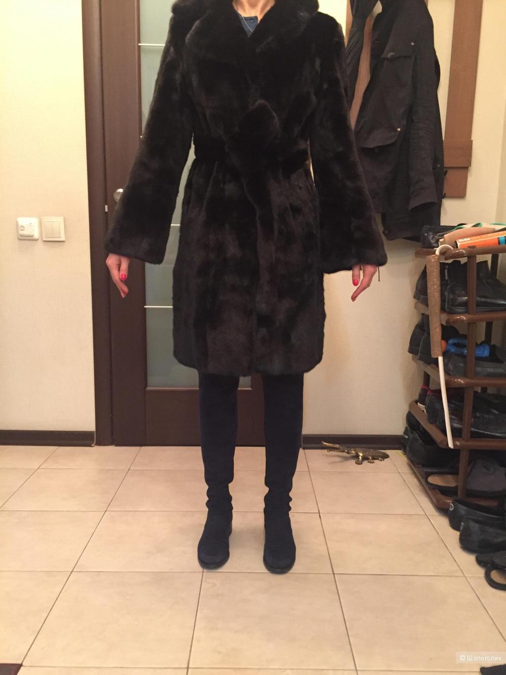 Норковая чёрная шуба