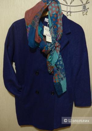 Синее новое пальто oversize 44-46