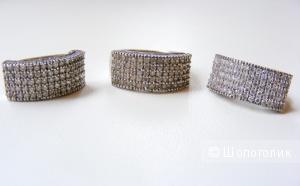 Комплект кольцо 16,5 и серьги серебро 925 пробы