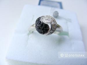 Кольцо серебро 925 чёрные и белые фианиты 16,5 размер НОВОЕ