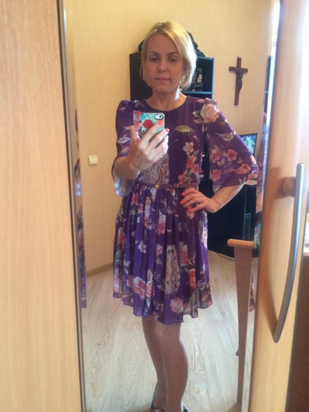 Платье новое, фиолетовое с рисунком-совы