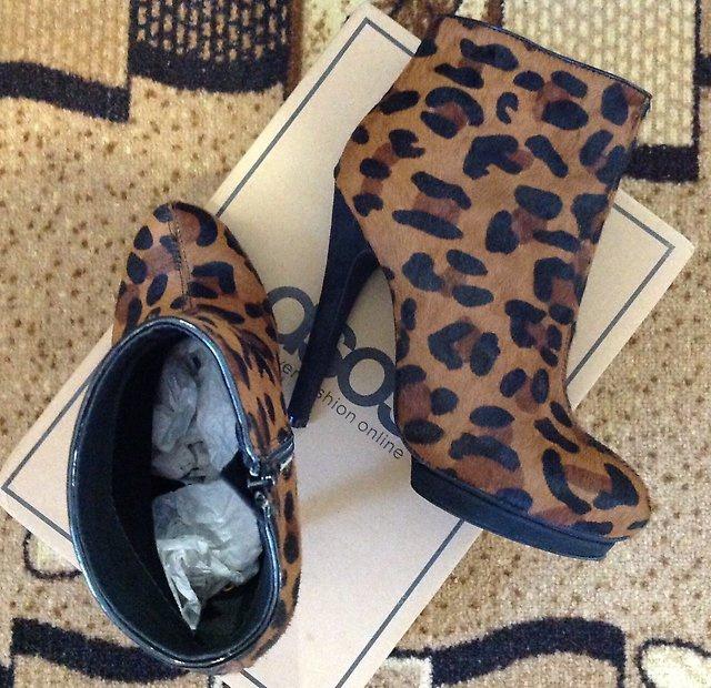 Ботинки ASOS ALTO Leather Animal Print Effect. Р-р 36-36,5.