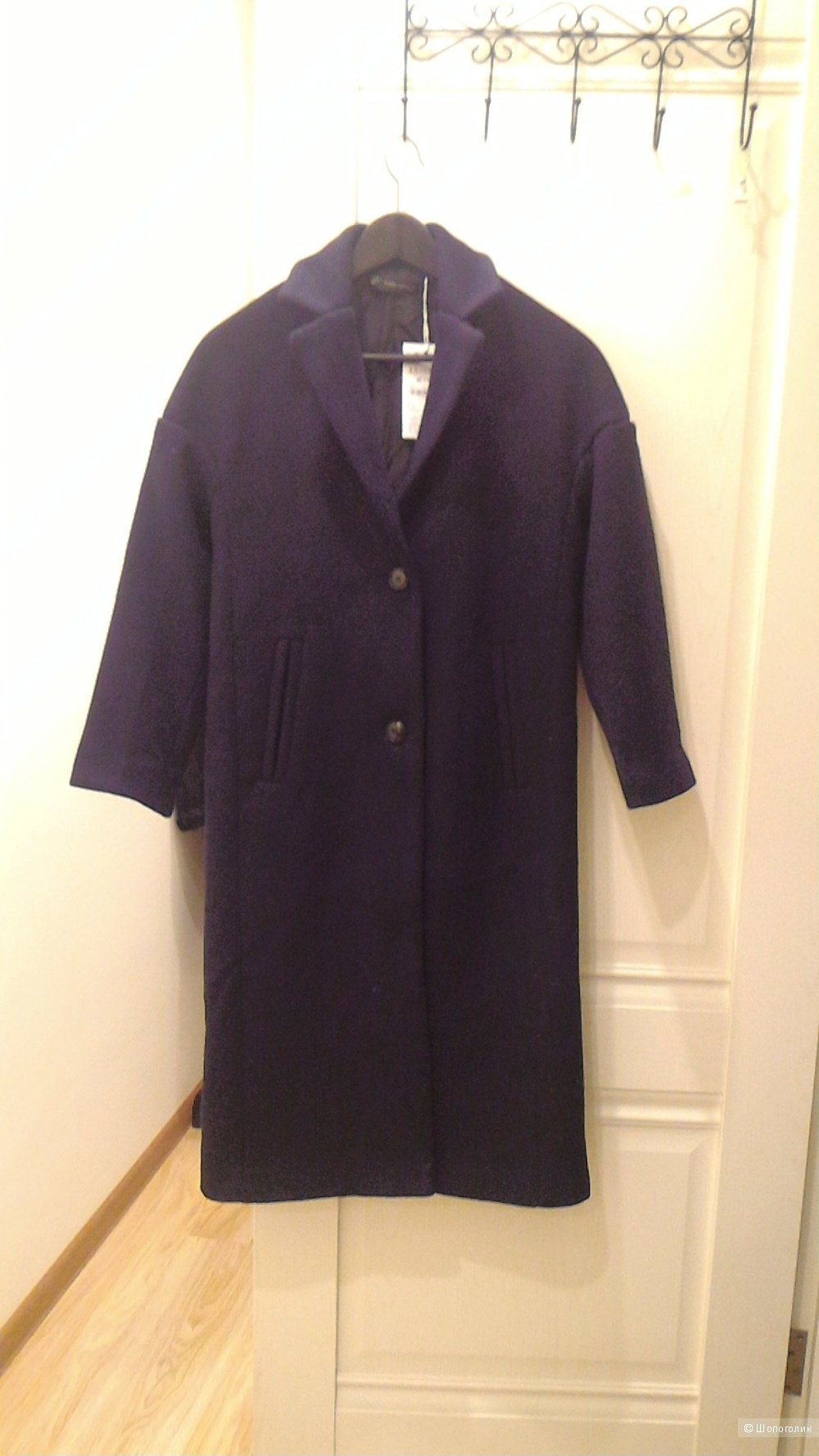 Пальто Зара темно-синее