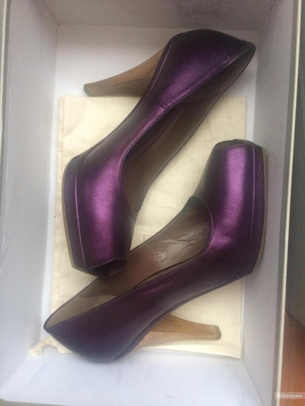 Туфли с открытым носиком Marni 37 размер фиолетовые оригинал б/у