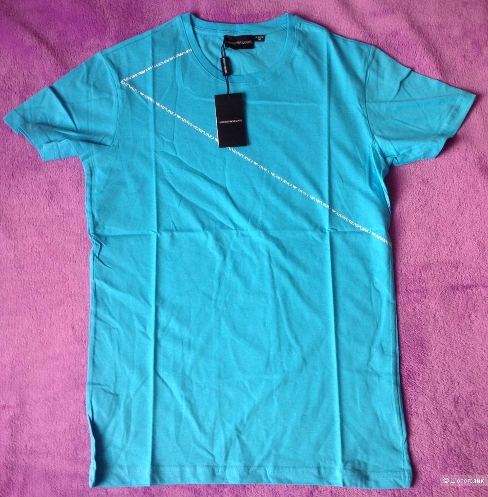 Новая мужская футболка бирюзового цвета .
