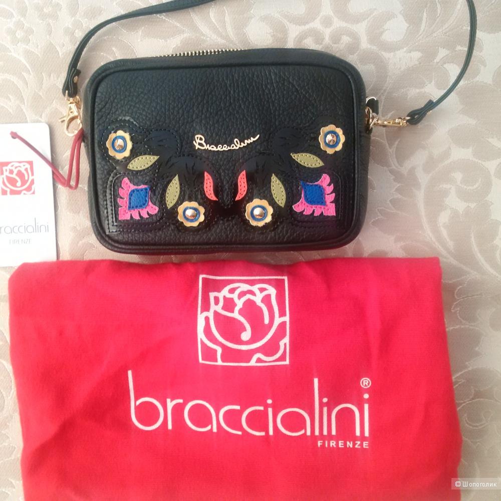 BRACCIALINI сумка новая Италия натуральная текстурированная кожа