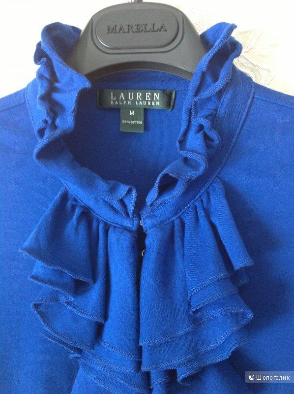 Блузка синего цвета с жабо Ralph Lauren m