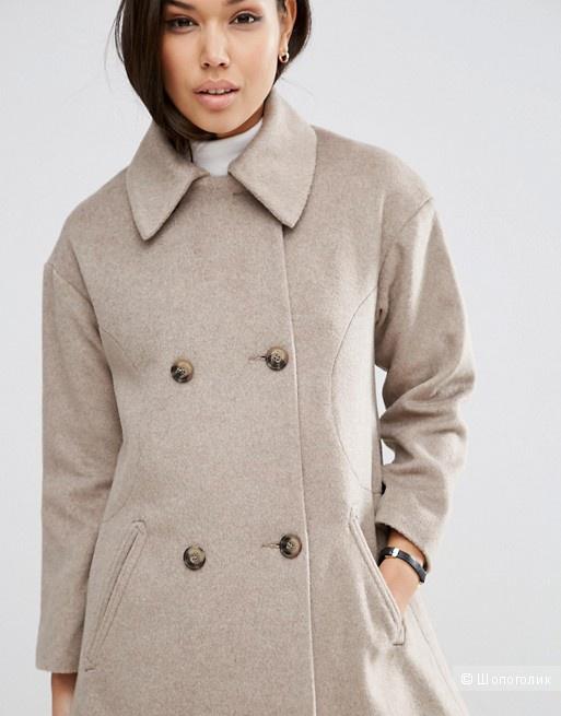 Двубортное пальто свободного кроя ASOS