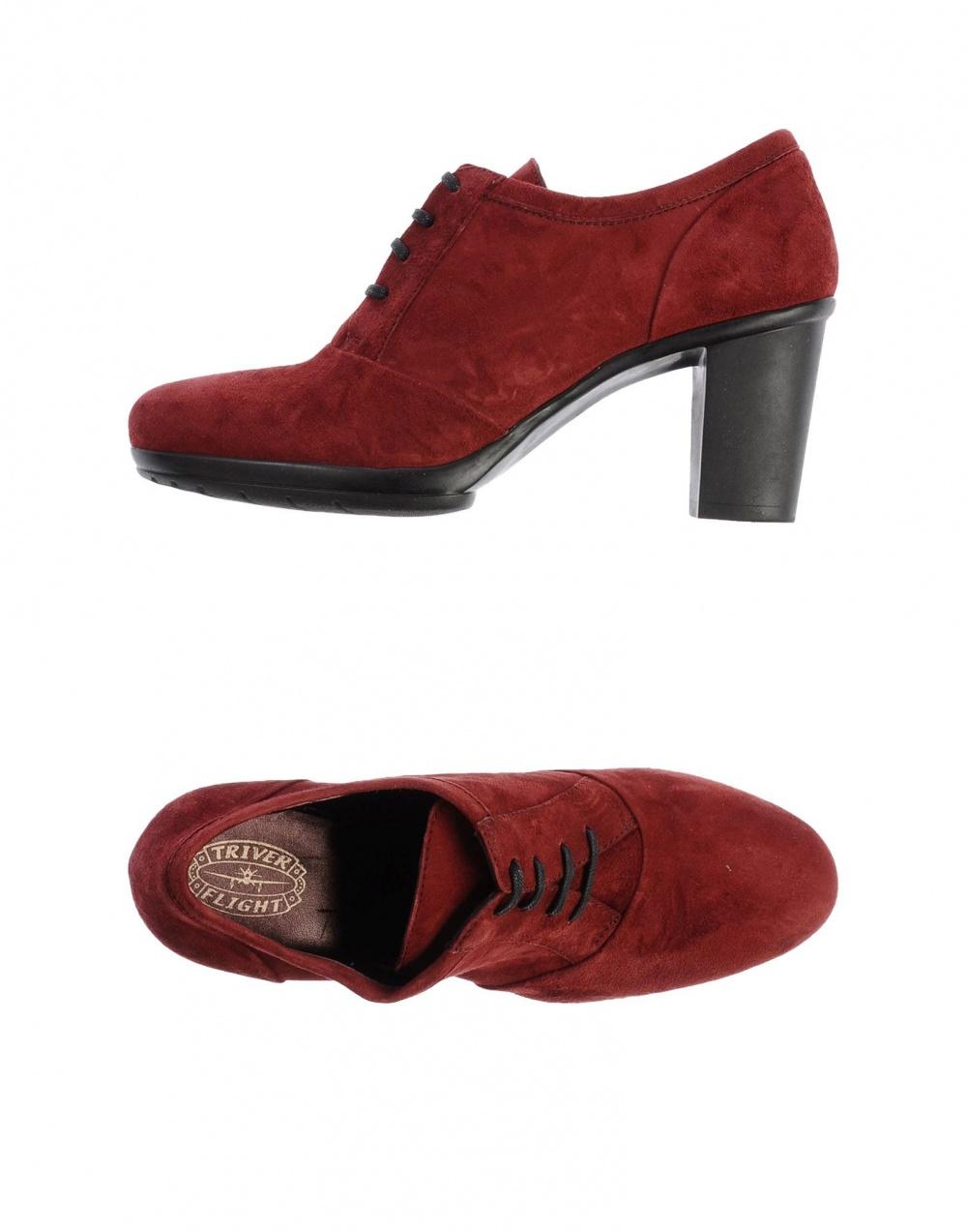 Замшевые ботинки на шнурках цвета бургундия Triver Flight,38eu