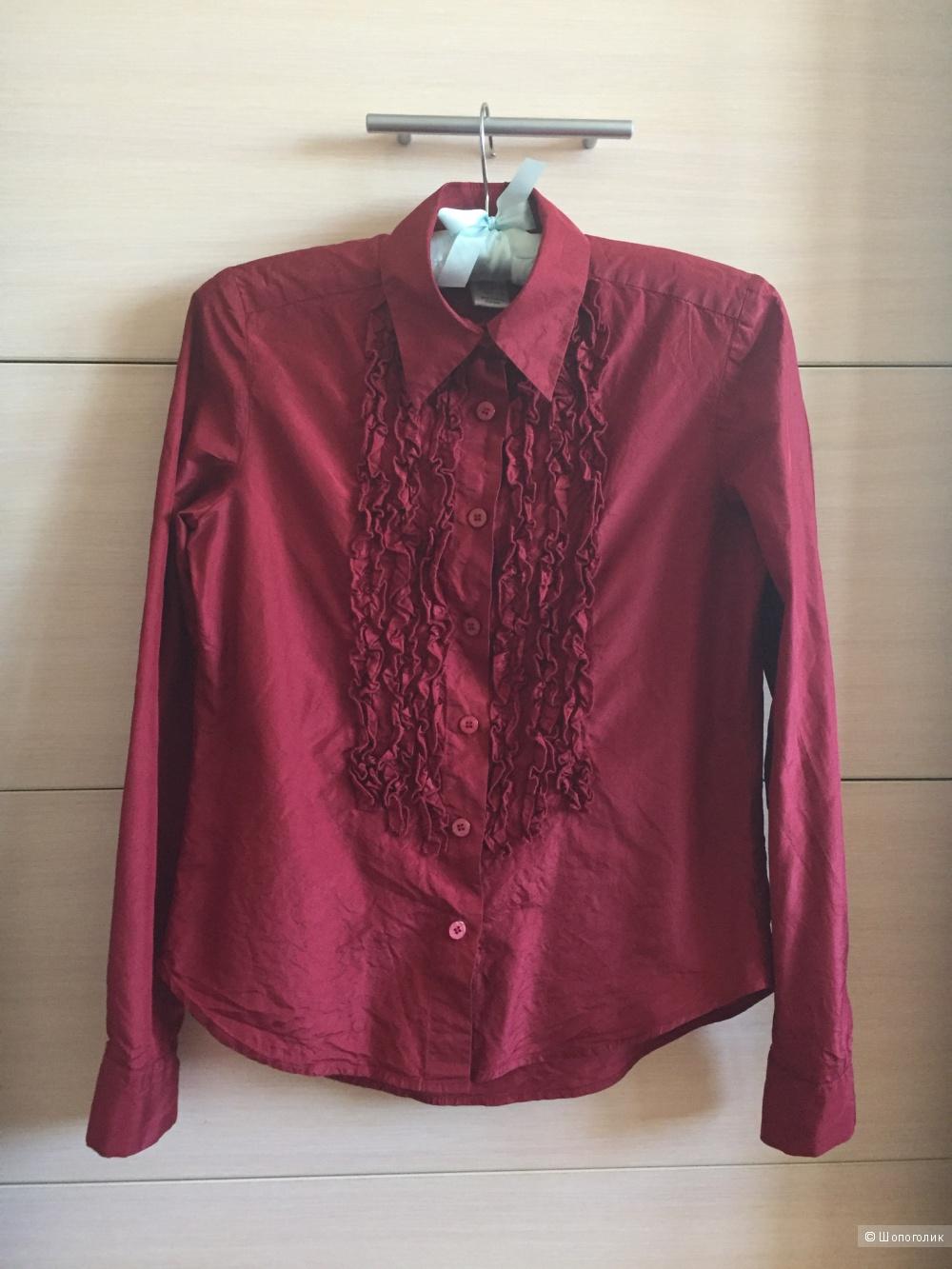 Рубашка из натурального шелка в винном цвете