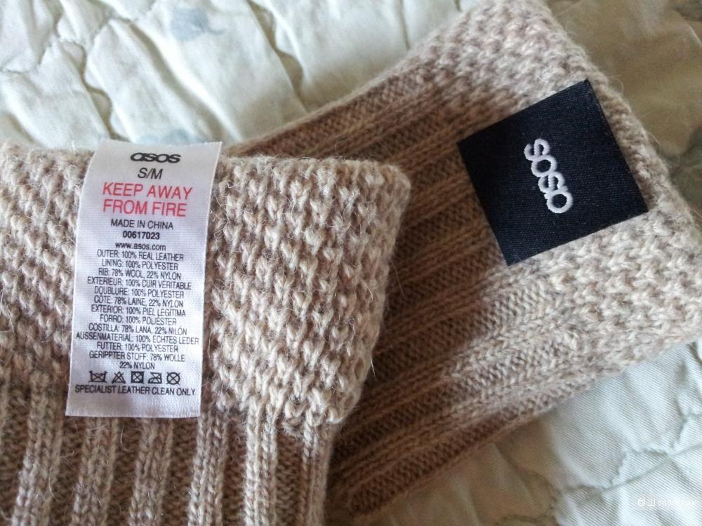 Перчатки Asos кожа/шерсть размер S/M новые