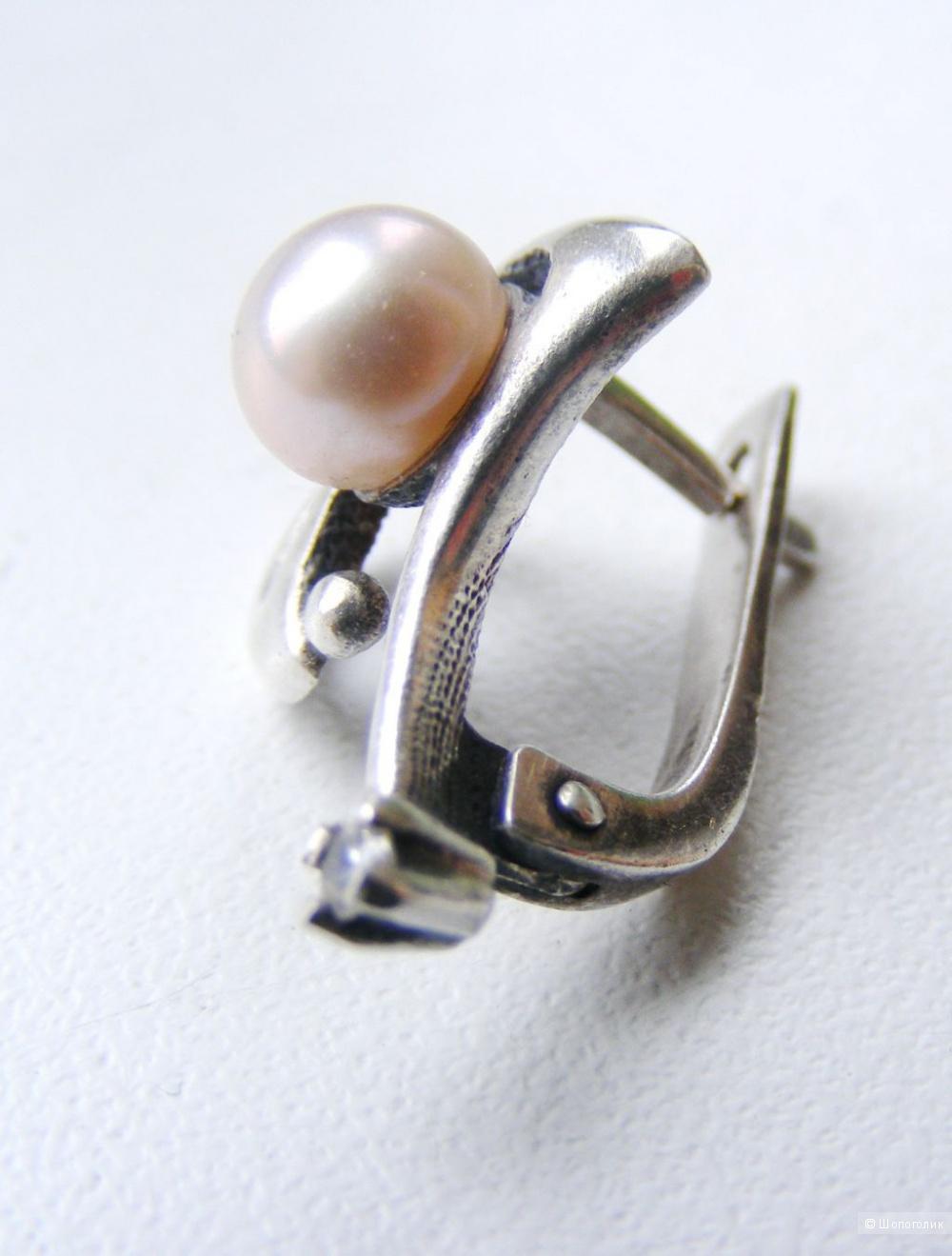 Комплект кольцо и серьги серебро розовый жемчуг фианит 18 размер