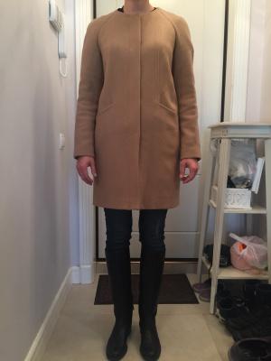 Шерстяное бежевое пальто Climona в отличном состоянии, XS-S