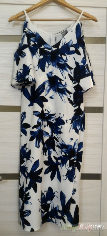 Платье-футляр с синим цветочным принтом и открытыми плечами ASOS