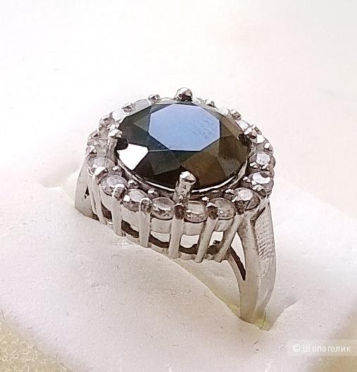 Кольцо с чёрным камнем и фианитами 16,5-17 размер серебро 925