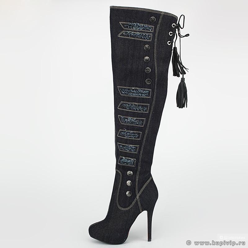 Продам новые джинсовые ботфорты (Новокузнецк)