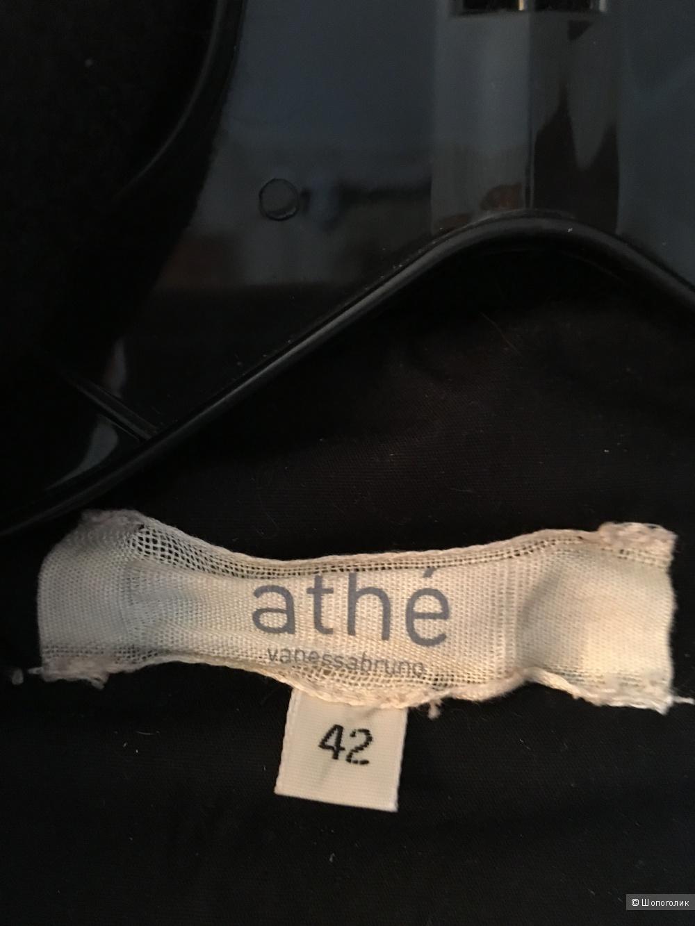 Шерстяная утепленная черная куртка-жакет с кожей Vanessa Bruno Athe p.FR42 (на росс.48)