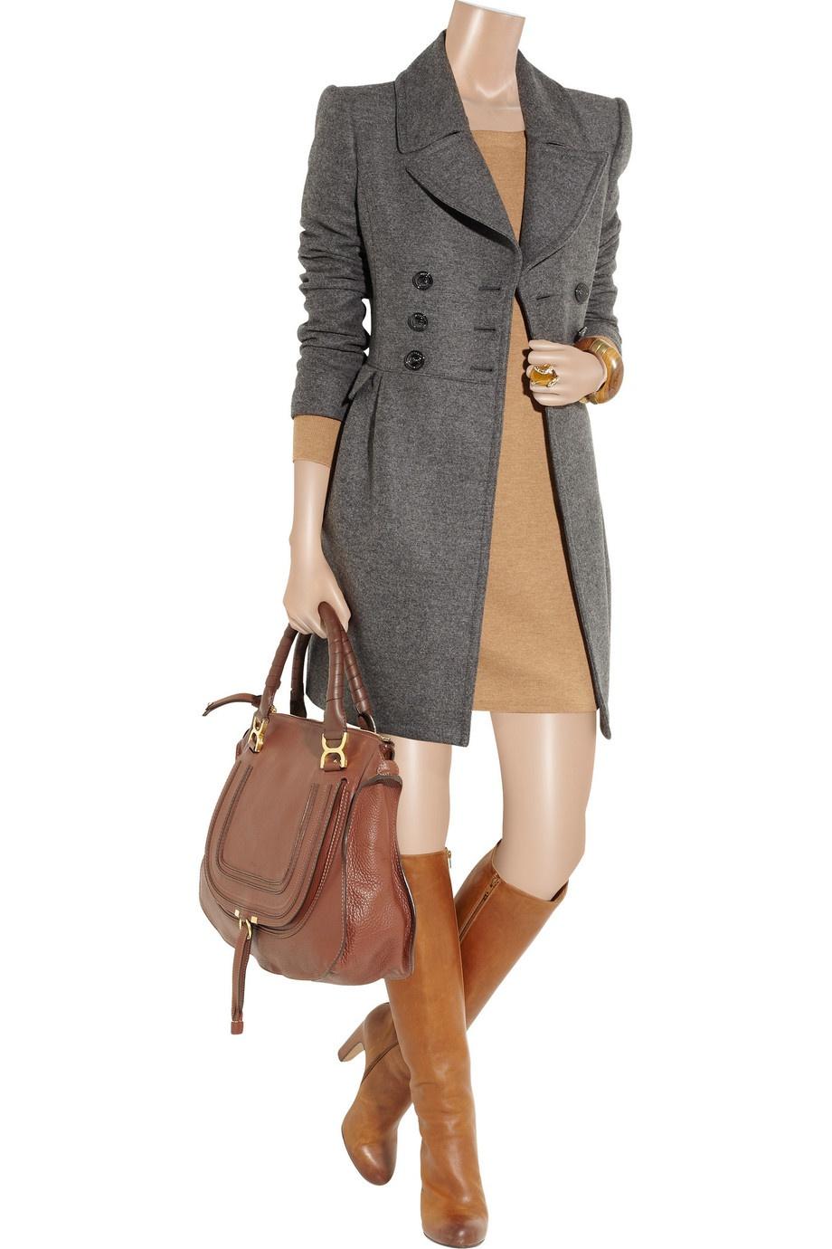 Серое двубортное пальто Burberry London размер UK 14 (на росс.48)