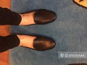 Кожаные туфли, черного цвета, 37р!