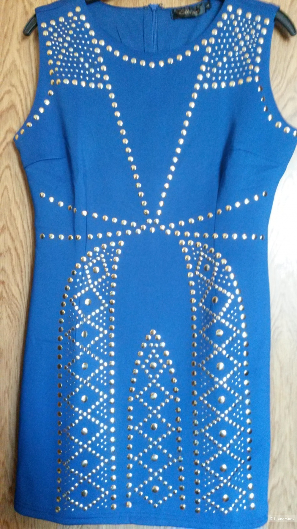 Синее мини-платье, размер Л