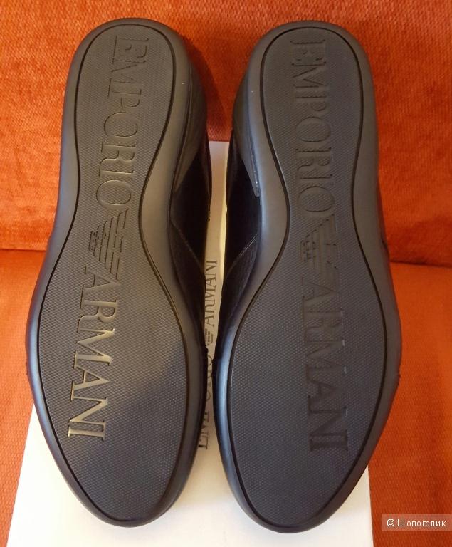 Новые черные кроссовки из телячьей кожи Emporio Armani, 43 размер (оригинал)