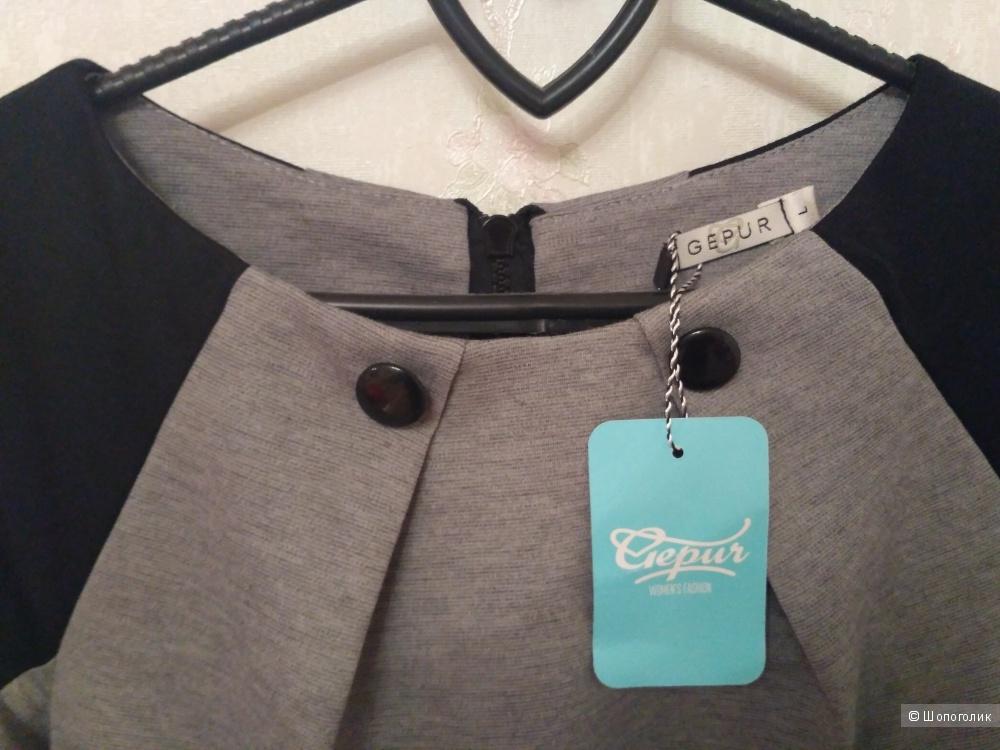 Женственное серое платье Gepur размер L