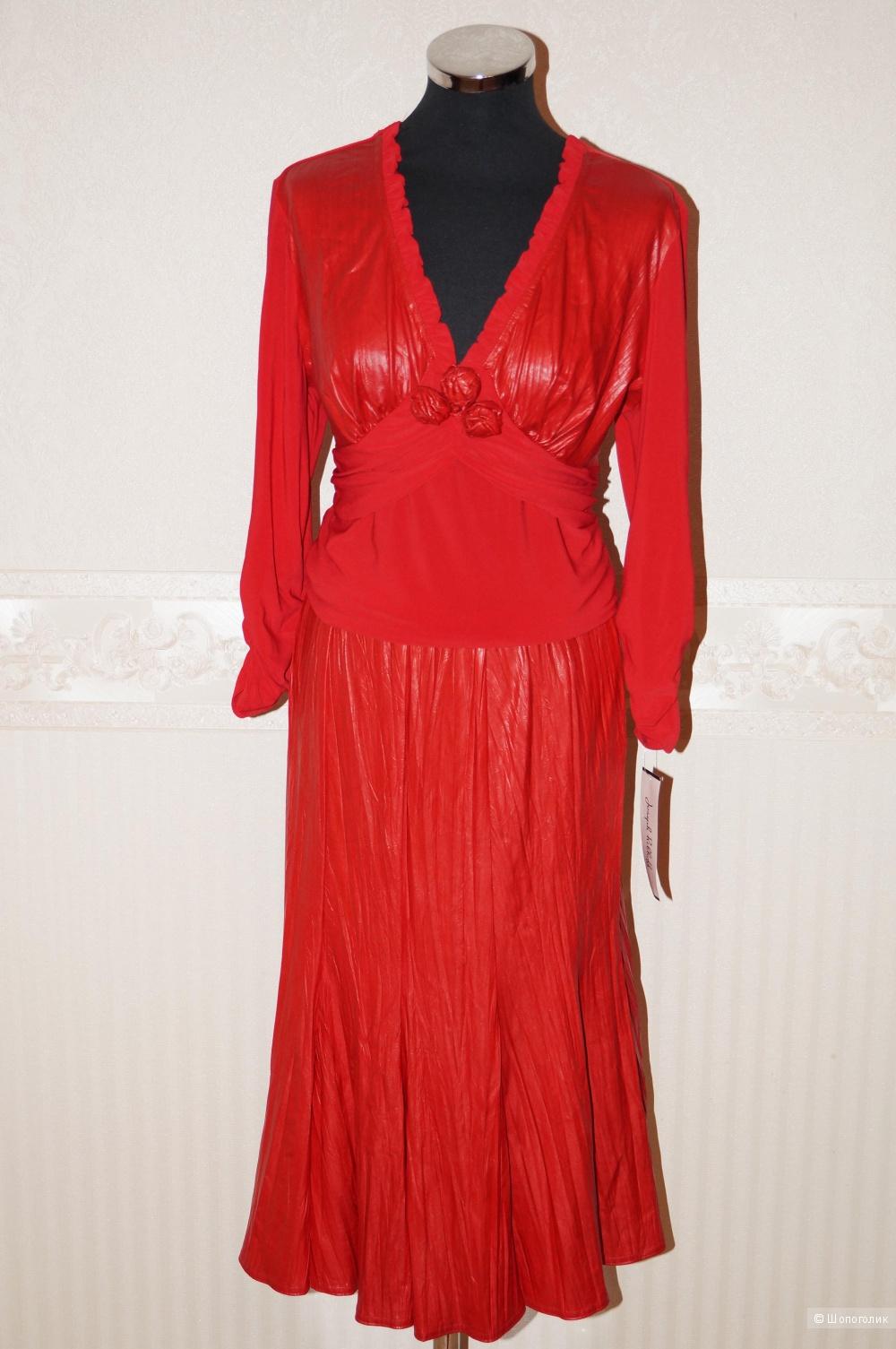 Красный костюм 46-48 размер .Блузка и Юбка с кожаными элементами.