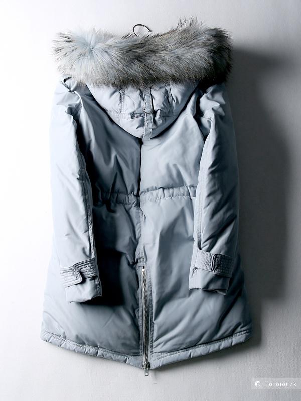 Зимняя парка-пуховик с мехом енота на воротнике, размер XL