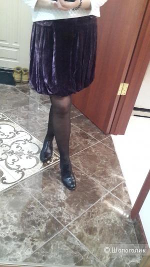 Красивая бархатная юбка Atos Lombardini цвет пыльной розы