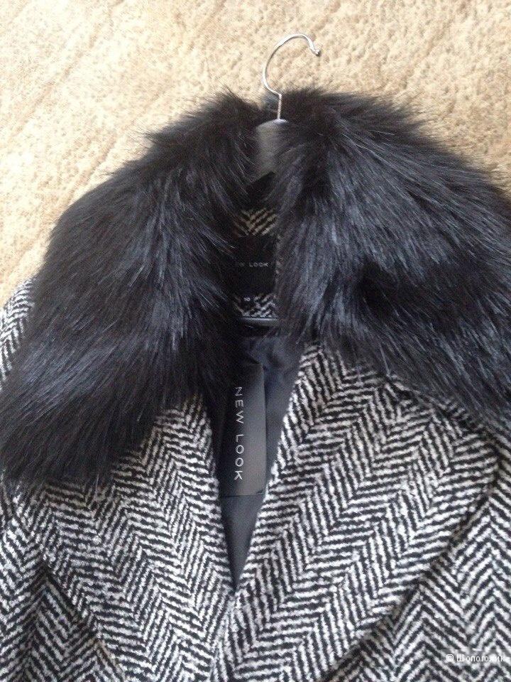 Пальто макси из искусственного меха с поясом New Look 44 размер