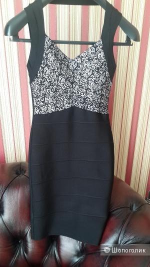 Платье утяжка бандажное Herve Leger черное, размер М