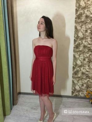 Коктейльное красное платье ASOS, р.46