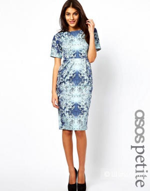 Платье ASOS PETITE Exclusive Wiggle Dress In Ombre Leaf Print UK 8