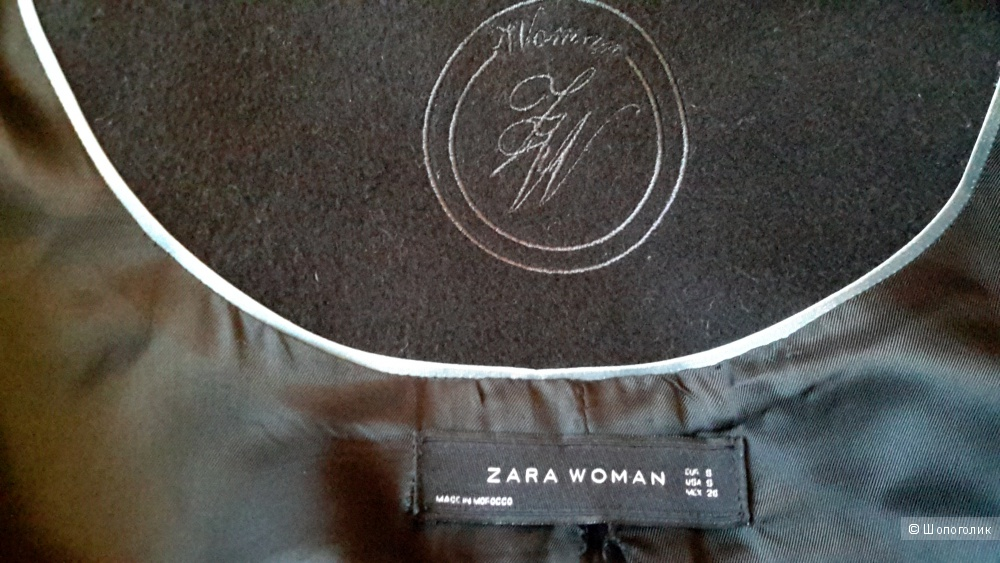 Пальто Zara черное б/у сезон размер S, можно до М