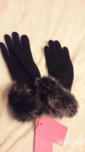Флисовые перчатки с натуральным мехом