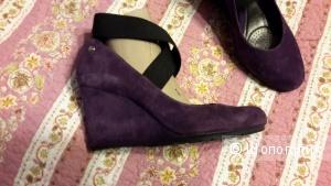 Clarks softwear туфли размер 6 на наш 38,5-39 б/у замша фиолетовые в хорошем состоянии