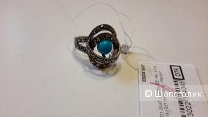 Кольцо серебро новое с бирюзой и марказитом размер 19