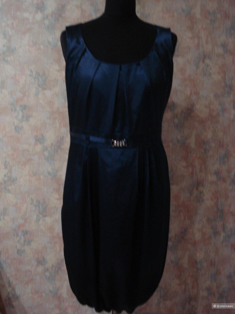 Шелковое темно-синее платье-баллон Motivi р. 46