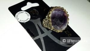 Кольцо Accessorize с природным камнем аметистом, металл под бронзу новый размер М на 17,5-18