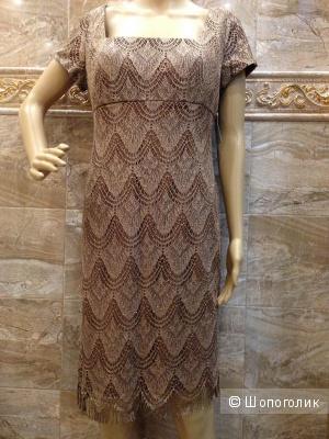 Красивое платье из золотого вязаного кружева р.46-48 Новое