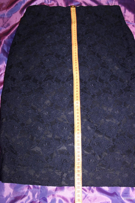 Тёмно-синяя кружевная юбочка, Merci, Италия. На 46 размер, длина до колена.
