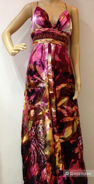 Шикарное вечернее платье от Morrell Maxie из натурального шелка с камнями р.44 Новое