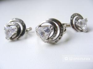 Комплект серьги + кольцо серебро 925 пробы хрусталь фианиты кольцо 17,5 размер