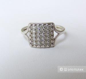 Кольцо серебро 925 пробы фианиты 16 размер